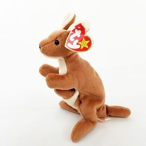 """🌻 Vintage 1996 TY Beanie Baby """"Pouch"""" Kangaroo"""